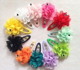 Wholesale Hair Clips Little Girl Ribbon - 20pcs Lot Baby Girls Little Hairpin 2'' Chiffon Flower With Bb Clip Children Ribbon Hair Accessories Girl Small Hair Clips