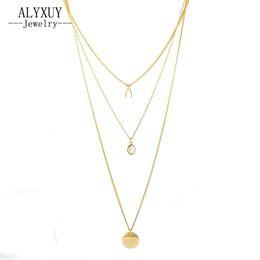 Wholesale Horn Bone Jewelry - whole saleALYXUY jewelry New fashion trendy Wishing Bones round pendant multi layer necklace gift for women girl N2155