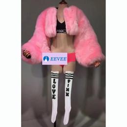 Ds-modell online-Bar Club Bühne Leistung Rosa Mantel Jacke Bikini Set Model Laufsteg DJ DS Kostüme sexy Party Show Outfit für Sänger Tänzer