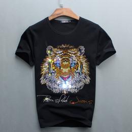 Projetos novos do tshirt on-line-Promoção por atacado Novos Homens de Design de Diamante de Luxo Tshirt Moda Camisetas Engraçadas de Manga Curta T Camisas de Algodão de Marca Tops e Tees