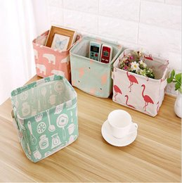 Wholesale Wholesale Foldable Grocery Bags - Foldable Cotton Grocery Storage Bag Desktop Drawer Clothes Snacks Organizer Basket with Handles 6 Styles OOA4273