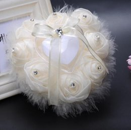 Wholesale Wedding Ring Pillow Wholesale - Heart Wedding Ring Pillows Rose Flowers Pillow Rhinestone Ostrich Plumes Wedding Ring Cushion Decoration Rose Flowers Ring Box 62G
