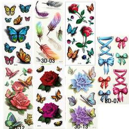 Wholesale Temporary Water Tattoos - 7PCS Beautiful Cute Water Transfer Tattoos Body Art Makeup Cool 3D Waterproof Temporary Tattoo Stickers For Girls Man
