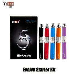 Wholesale ego wax atomizer - Authentic Yocan Evolve Starter Kit Purple wax pen Vaporizer with 0.8ohm Quartz Dual Coil 650mAh Battery ego thread atomizer Original