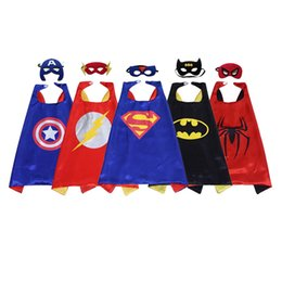 Wholesale Kids Party Superhero Masks Wholesale - Double 70*70cm side kids Superhero Cartoon Cute Capes and masks Children Kids Capes Cosplay Party Costumes Halloween