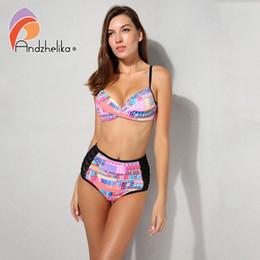 2019 bikini taille haute en maille Anadzhelia Bikini Femmes Maillot De Bain Taille Haute Mesh Patchwork Bikinis Ensemble Sexy Bikini Brésilien Ensembles Maillots De Bain Monokini AK18118 bikini taille haute en maille pas cher