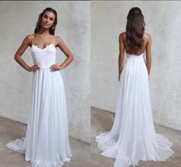 Wholesale Top Skirt Dresses - Spaghetti Straps Chiffon A Line Summer Beach Wedding Dresses Lace Top Backless Court Train boho garden Bridal Gowns 2018 grace lace love