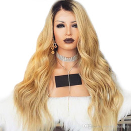 Wholesale hot sexy blondes - Hot Sexy Ombre 1B Blonde Wig Long Body Wave Heat Resistant Fiber Glueless Synthetic Lace Front Wigs with Dark Roots for Black Women