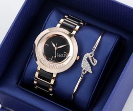 Wholesale Gold Chain Watches - 2018 HOT Women Gold Watch Swarovski crystal dial Steel Ladies Chain wristwatch Luxury High Quality leisure designer Quartz clock watches GC