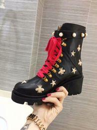 2019 beste jagdstiefel 2019 Biene Designer Stiefel Plattform echte Dame Leder Laureate Plattform Frauen High Heel Martin Desert Stiefel Designer Schuhe Mode mit Box