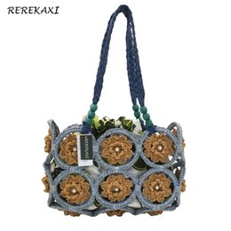 Wholesale Chinese Shops - REREKAXI Chinese wind straw weave ladies shoulder bag beach grass bags shopping women's handbags travel bag for women