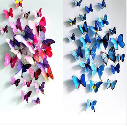 Wholesale Chinese Tv Package - 3D PVC Butterfly Wall Stickers Home Decor Butterfly Wall Decals For Kids Room TV Wall Stickers Kitchen Kids Sticker Flower