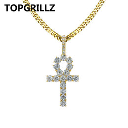 Wholesale Crystal Prayer - Topgrillz Egyptian Ankh Cross Necklace For Women Men Jewelry Prayer Necklaces &Pendants With Cuban &Link Chain