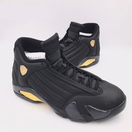 Wholesale Basketball Package - hot 14 14s DMP Basketball Shoes Men Black Gold Deigning Moments Package 98 Sneakers With Shoes Box XZ118