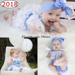Wholesale Pink Diaper Cover - INS Baby Full Lace Romper Baby girl kids toddler Summer Rompers Diaper Covers Jumpsuits Lace Ruffle Cute Cotton Bodysuits Blue Pink Gray