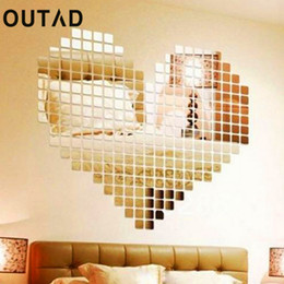 Glass Tiles,9 pcs Beautiful Square Mirror Tile Wall Stickers 3D Decal Mosaic Home