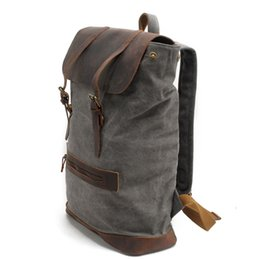 Wholesale Mountain Computers - Man pure cotton canvas double shoulder bag travel leisure Mountain Backpack 15.6 inch computer package with real leather