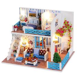 große plastikpuppen Rabatt DIY Puppenhaus Seaside Villa Miniatur Kleine Holzzimmer Box Dollhouse Home Souvenirs Cottages für Puppe Gebäude Spielzeug für Kinder