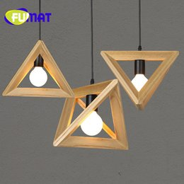 Wholesale Triangle Pendant Lighting - FUMAT Nordic Triangle Solid Wood Restaurant Chandelier Creative Art Dining Room Light Bedroom Simple Cafe Bar Lamp Free Shipping