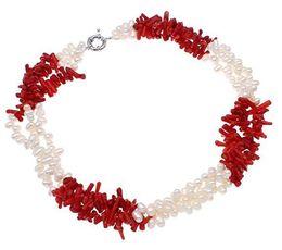 Rote perle choker halskette online-Red Coral und White Cultured Süßwasserperlen Halskette Choker Kragen Statement Handmade Frauen Schmuck