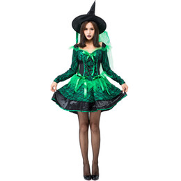d8b1ed1c867 Halloween Witch Costume For Women Long Dress Cosplay Gothic Witch green Clothes  Outfits