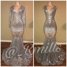 Wholesale silver mermaid sparkle prom dress - Silver Sequin Mermaid Prom Evening Dresses Sparkle Long Sleeves V Neck Zipper Back Sexy See Through Evening Gowns