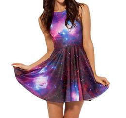 2019 lila skater kleider Großhandels-Neues 2018 Frauen-Galaxie-Kleid-Schwarz-Milchkleid-Galaxie-purpurrotes umschaltbares Skater-Kleid-Druck-Kleider plus Größe günstig lila skater kleider