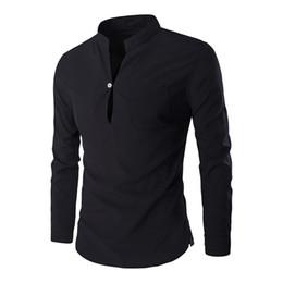 Clothing for office en Ligne-Hommes Chemise De Mariage De Mode Stand Cou Blouse Nouvelle Arrivée Workout Vêtements Bureau Blusa 2018 Couleur Unie Hommes Chemises Tops