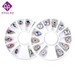 Moglad 2 pz / set di lusso di fascino AB colore chiodo ruota decorazione di cristallo corona waterdrop lega di arte del chiodo decorazione ruota strumento 3d da