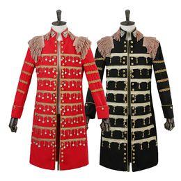 черный красный смокинг для выпускного вечера Скидка New Fashion Men Suit Blazers Jacket Red Black Long Dust Coat Male Singer Stage Compere Club Dj Wedding Groom Prom Dress Tuxedo