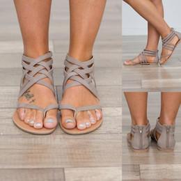 Wholesale Woman Flat Sandals Size 43 - Plus Size 34-43 Flats Summer Women's Sandals 2017 New Fashion Casual Shoes For Woman European Rome Style Sandalias