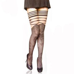 Wholesale Gothic Heels - Hot Sell Punk Gothic Wedding Sexy Cuban Heel Wide Knee Lace Stockings Print Striped Sheer Long Stockings Thigh Tights