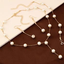 conjuntos sólidos de pulseiras de ouro Desconto Doce conjunto de jóias para o escritório da senhora elegante imitação de pérolas colar pulseira brinco set para mulher frete grátis