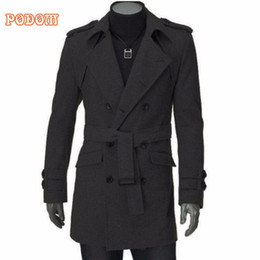 Wholesale Men S Belted Trench Coat - 2017 Winter Warm Men's Faux Wool Trench Jackets Business Casual Slim Fit Double Breasted Belted Long Coat Windbreaker Outwear