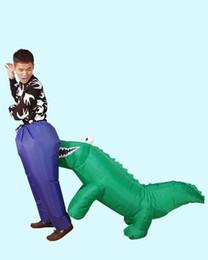Krokodil kostüme online-Halloween Lustige Aufblasbare Dinosaurier Kostüm Erwachsene Party Crocodile Cosplay Kostüm Für Frauen Männer Fahrt auf Kostüme