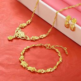 24k gold ohrring anhänger sätze online-(221S) Hochzeitsschmuck set Anhänger Halskette Armband Ohrring Für Braut 24 karat Vergoldet Rose Blume