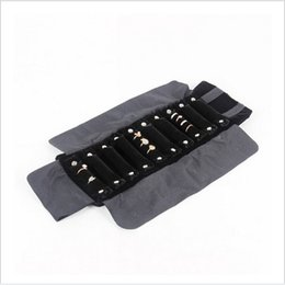 Wholesale Roll Black Velvet - Lanolin jewelry display bags for rings display furnishing display Black Velvet Jewelry Foldable Travel Roll Bags 47cm*28cm