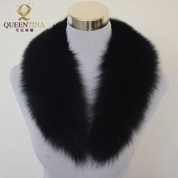 Wholesale real fox scarf - Top Fashion Solid Black New Winter Scarf Women 100% Real Fox Fur Collar Caps Article Warm Scarves Shawls
