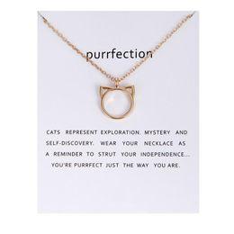 Wholesale fashion cat ears - Animal Pendant Necklaces Cat Ear Alloy Pendant Necklaces With Card Women Fashion Pendant Jewelry Holiday Gifts