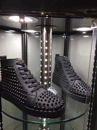 Wholesale spiked shoes red sole - Prefer Gift Spikes High Top Red Bottom Studded Sneakers Shoes Women,Men Luxury Designer Flat Casual Red Sole Autumn Winter Trainers 35-46