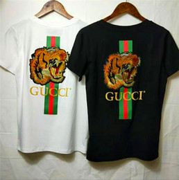 Frauen schwarze hemdstickerei online-Fashion Top-Marke Kurzarm Tier gedruckt Mens Womens T-Shirts Black Tiger Mouse Stickerei Sleev Tees Shirts Tops Unisex