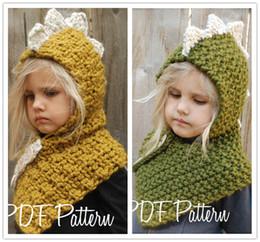 214a9cc159a Kids Dinosaur Crochet Hats Beanie Boys Girls Knitting Hooded Hat Scarf 2 in  1 Infant Warm cartoon Neckscarf Neck Collar Scarves Xmas Gifts