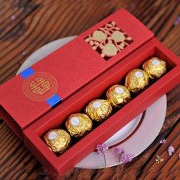 Scatola di dolci di cerimonia nuziale cinese online-Cinese asiatico stile rosso doppia felicità favore casella di nozze dolce cioccolato regalo favore caramella contenitore ZA6314