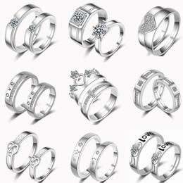 paare krone ringe Rabatt 32 Designs Paar Ringe Einstellbare 2 teil / satz Liebhaber Ringe 925 Silber Feder Herz Krone Kreuz Zirkonia Ringe