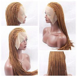 Wholesale cheap heat - Hot Sexy Braids 30# Blonde Braided Wigs with Baby Hair Cheap Braiding hair Heat Resistant Glueless Synthetic Lace Front Wigs for Black Women