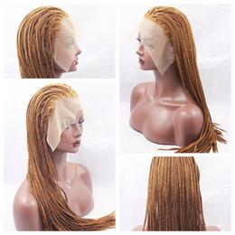 Rubio pelo sintético barato online-Hot Sexy Braids 30 # pelucas trenzadas rubias con el pelo del bebé Cheap Hair trenzado a prueba de calor sin cola pelucas sintéticas del frente del cordón para las mujeres negras