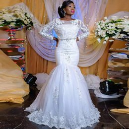 vestido muçulmano fishtail Desconto Clássico Branco Sereia Vestidos de Casamento Muçulmano Colher Pescoço Completa Manga Apliques com Cristal África Vestido de Noiva Sweep Train Fishtail