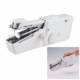 Wholesale Mini Portable Electric Sewing Machine - Portable Electric Mini Stitch Sew Machine Needlework Handheld Sewing Machine Travel Cordless Clothes Fabrics Sewing Machines