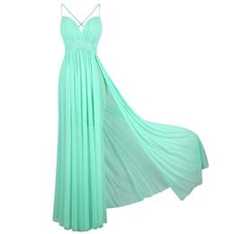 Angel Moda Feminina Spaghetti Strap V Neck Ruched Desenho Evening Prom Vestido De Festa Vestido De Hortelã Verde 406