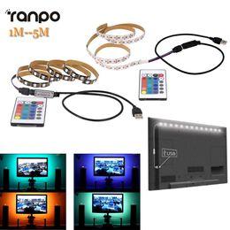 tira led 3528 blanco frio Rebajas 1M 2M 3M 4M 5M 5050 SMD RGB 60led / m Lámpara de cinta de cinta DC 5V Tira de LED RGB Light TV Kit de iluminación posterior + Control remoto IR